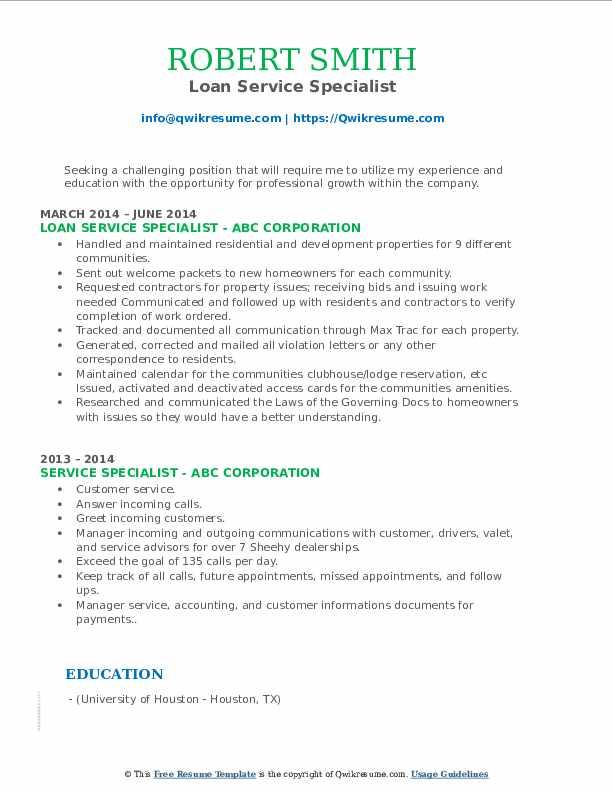 Loan Service Specialist Resume Format