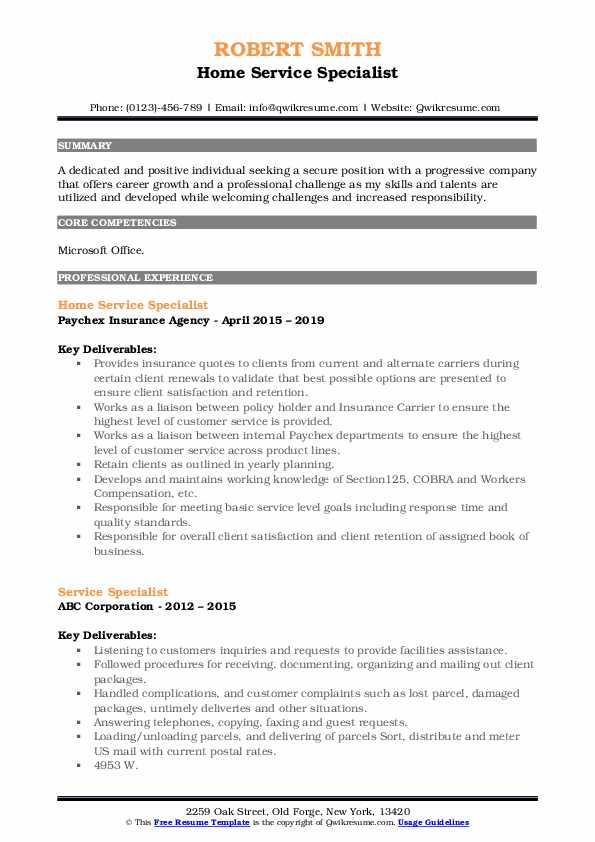 Home Service Specialist Resume Model