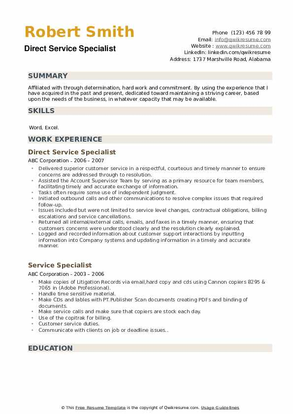 Direct Service Specialist Resume Model