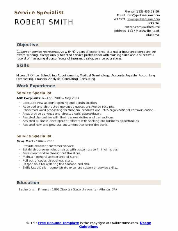 Service Specialist Resume example