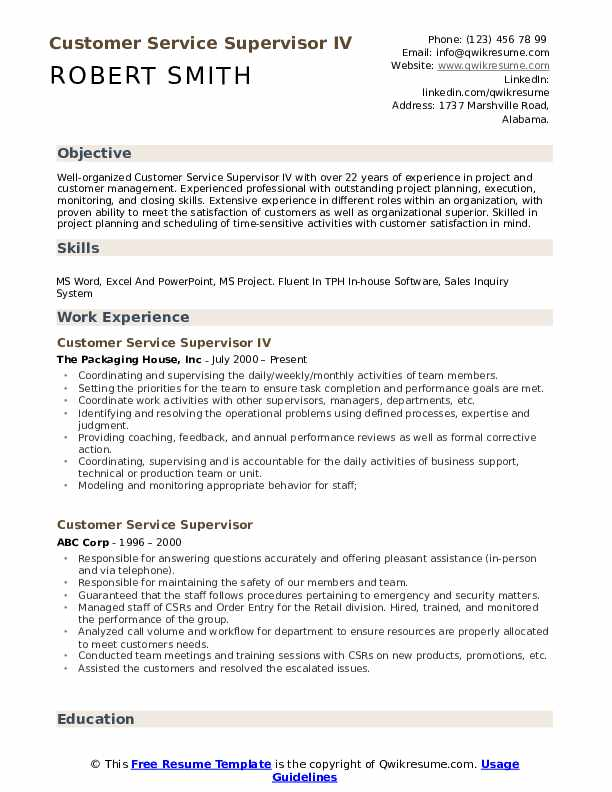 Customer Service Supervisor IV Resume Example