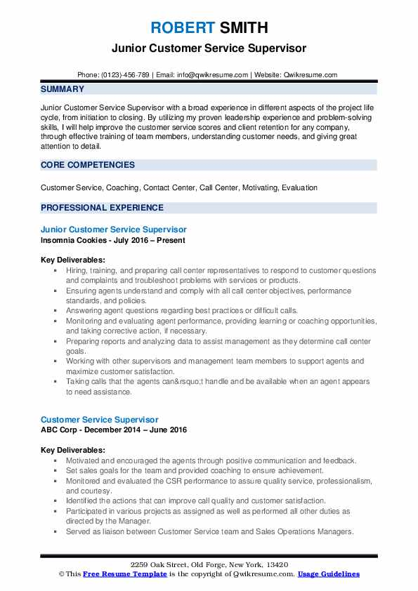 Junior Customer Service Supervisor Resume Template