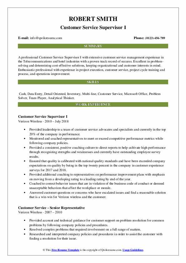 Customer Service Supervisor I Resume Example