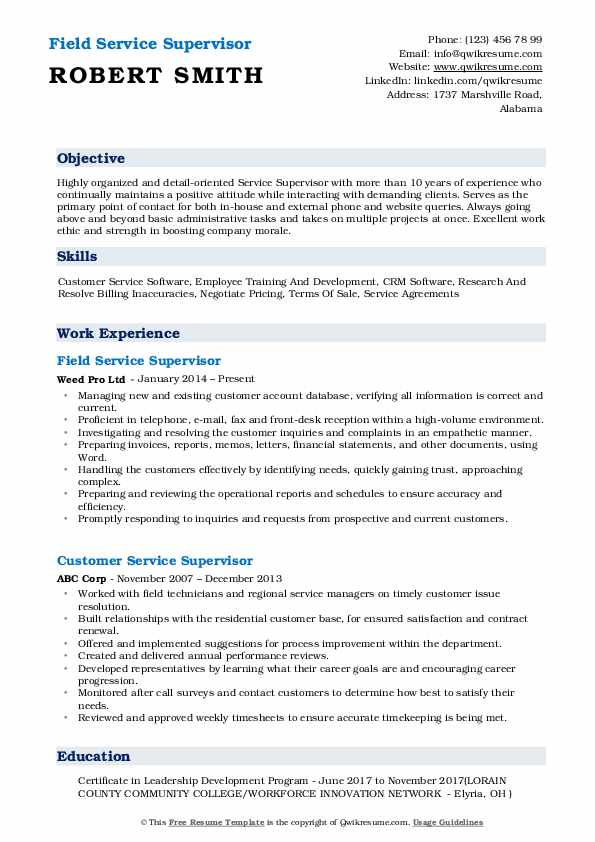 Field Service Supervisor Resume Sample