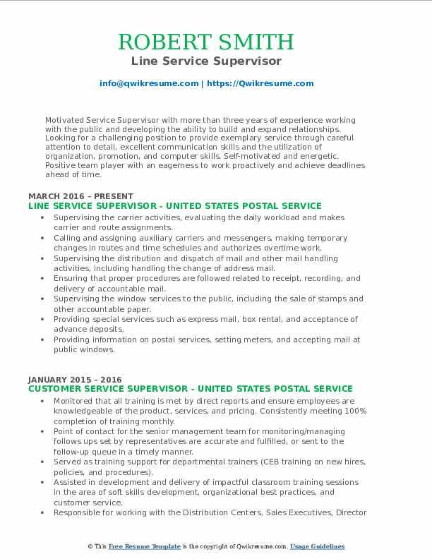 Line Service Supervisor Resume Template