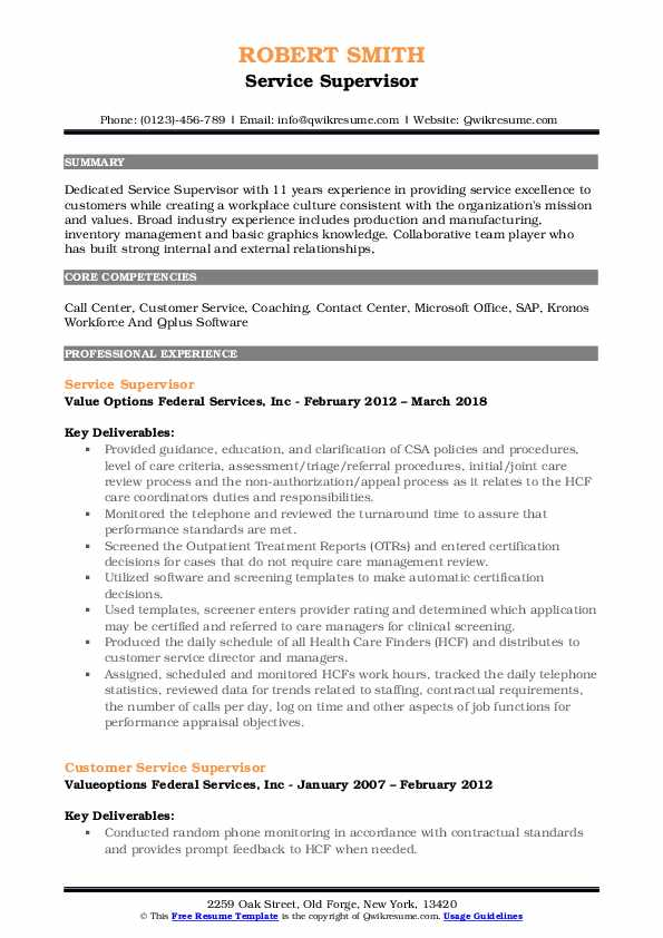 Service Supervisor Resume Template