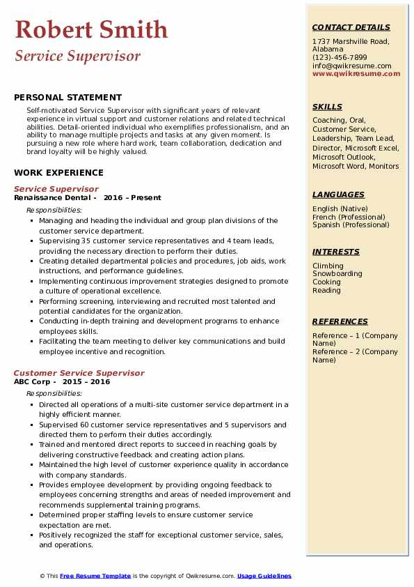 Service Supervisor Resume Sample