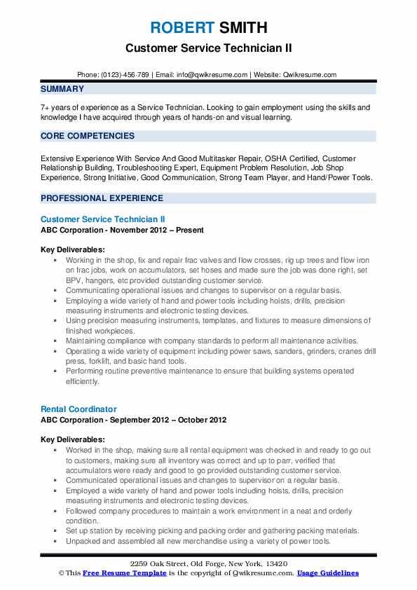 Customer Service Technician II Resume Format