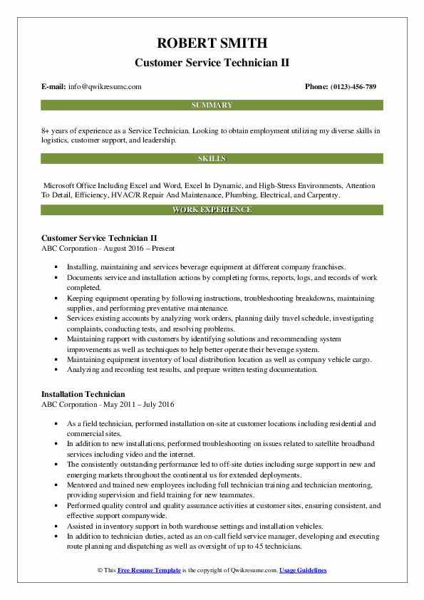 Customer Service Technician II Resume Sample