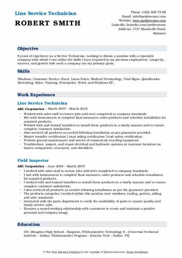 Line Service Technician Resume Model