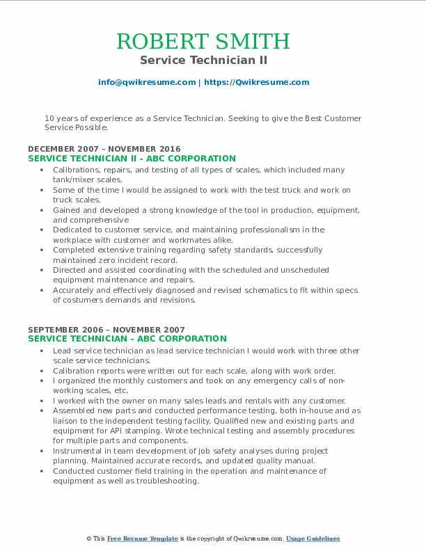 Service Technician II Resume Example