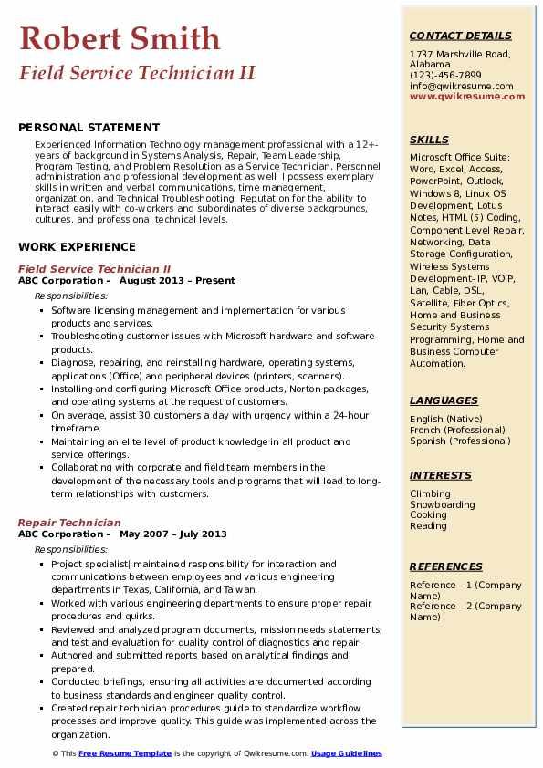 Field Service Technician II Resume Format