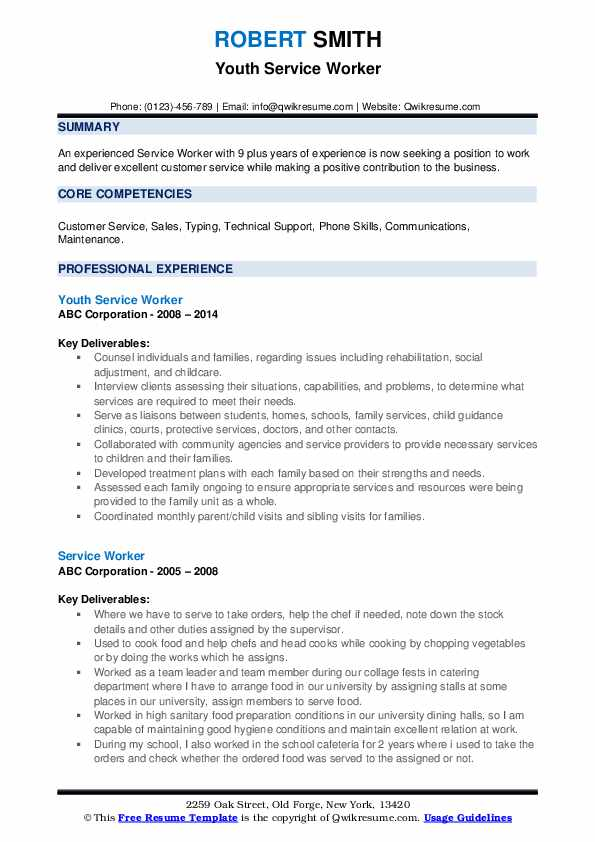 Youth Service Worker Resume Sample
