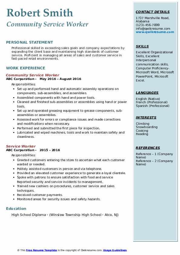 Community Service Worker Resume Sample