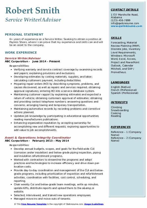 Service Writer/Advisor Resume Sample