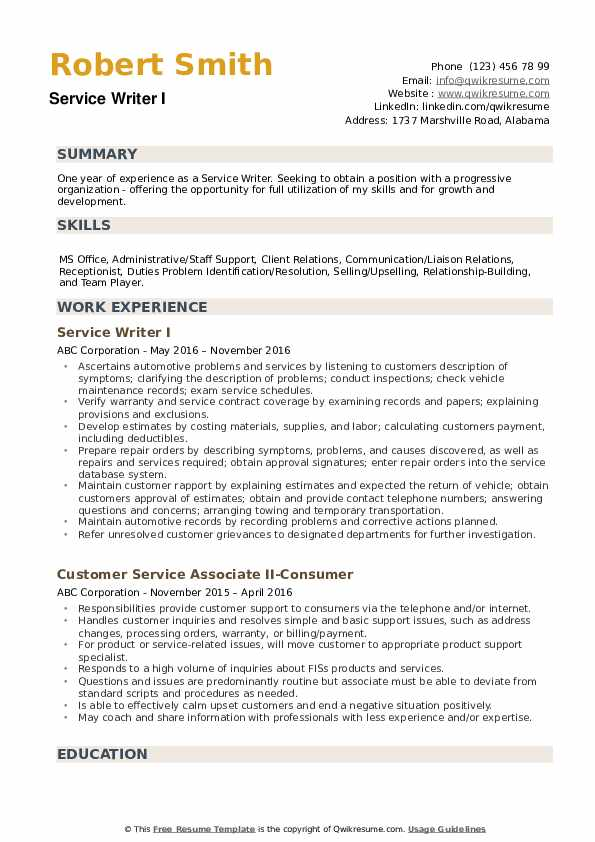 Service Writer Resume Samples Qwikresume