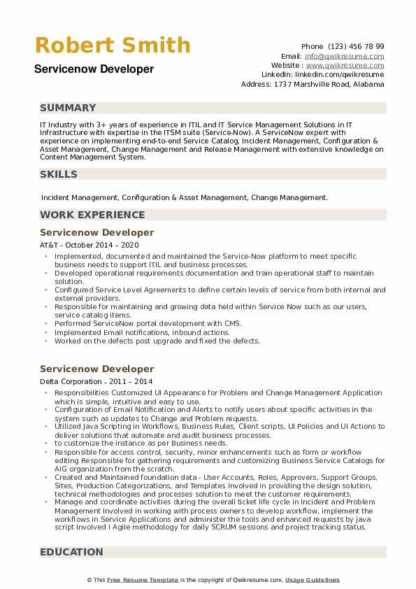 Servicenow Developer Resume example