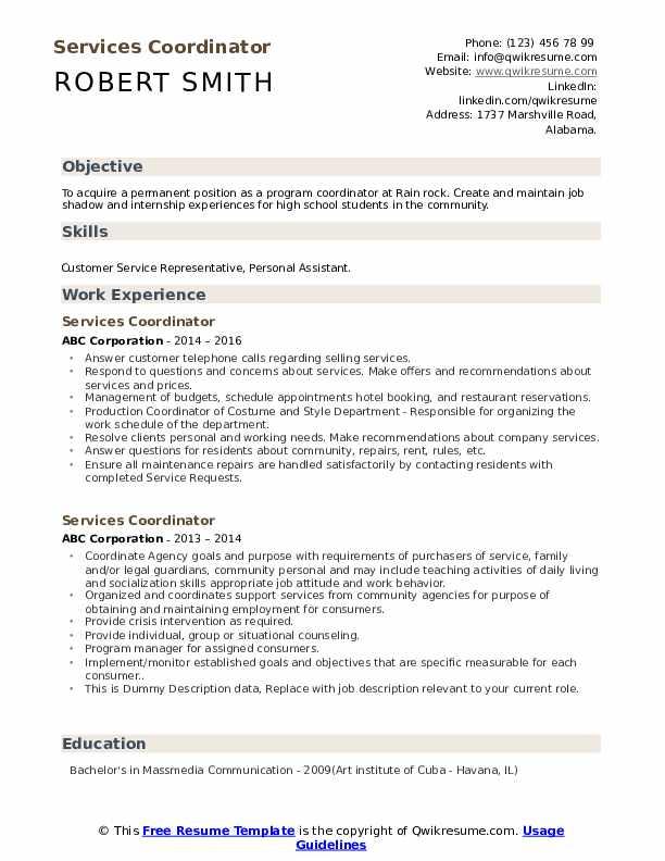 Services Coordinator Resume example