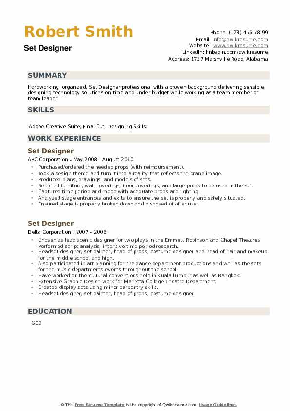 Set Designer Resume example