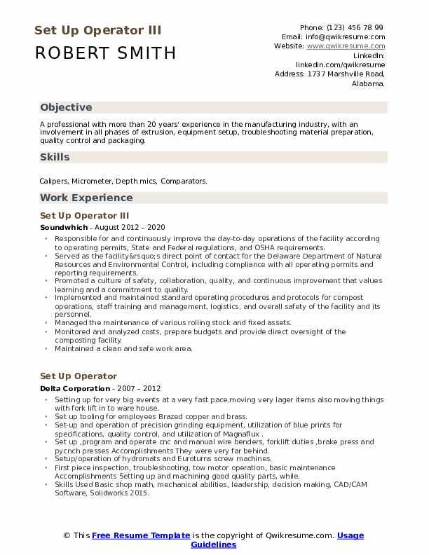 Set Up Operator Resume example