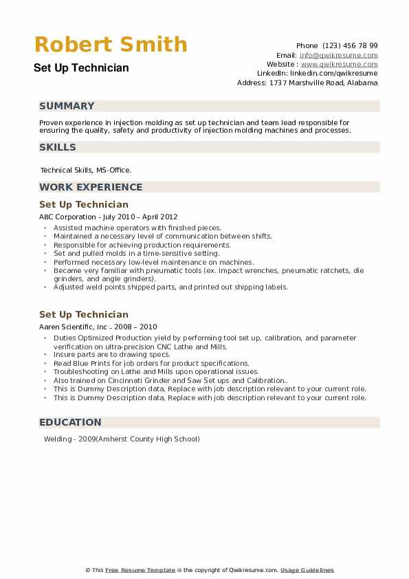 Set Up Technician Resume example