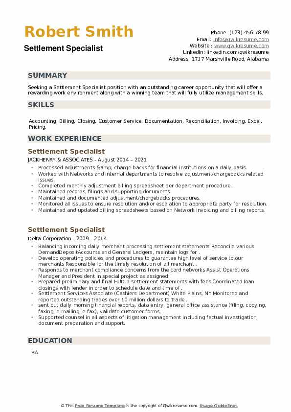 Settlement Specialist Resume example