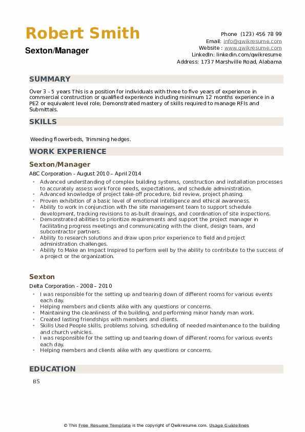 Sexton Resume example