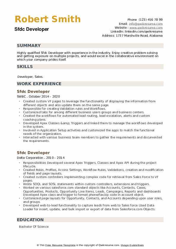 Sfdc Developer Resume example