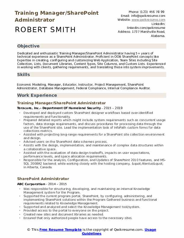 Sharepoint Administrator Resume example