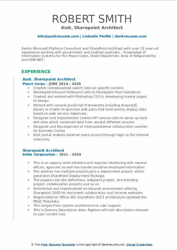 sharepoint architect resume samples  qwikresume