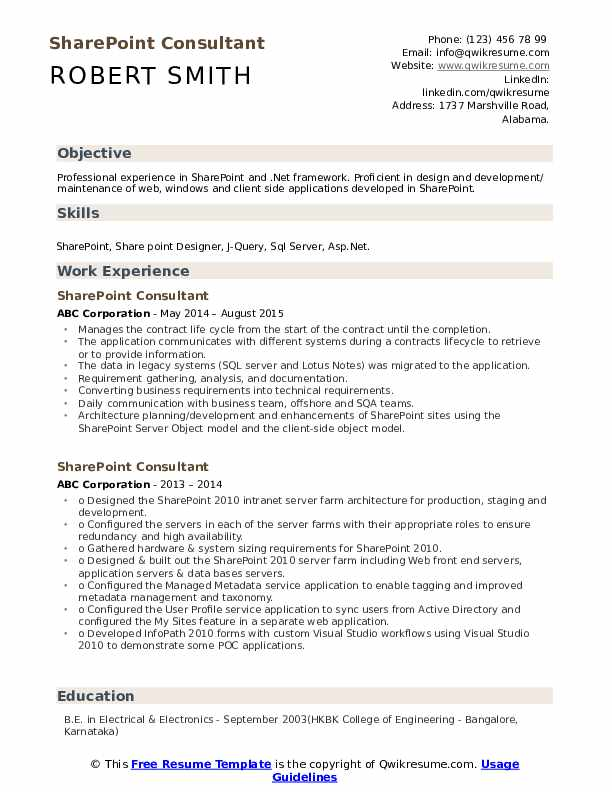 Sharepoint Consultant Resume example