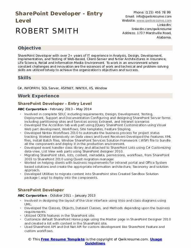 Sharepoint Developer Resume Sample Mintresume