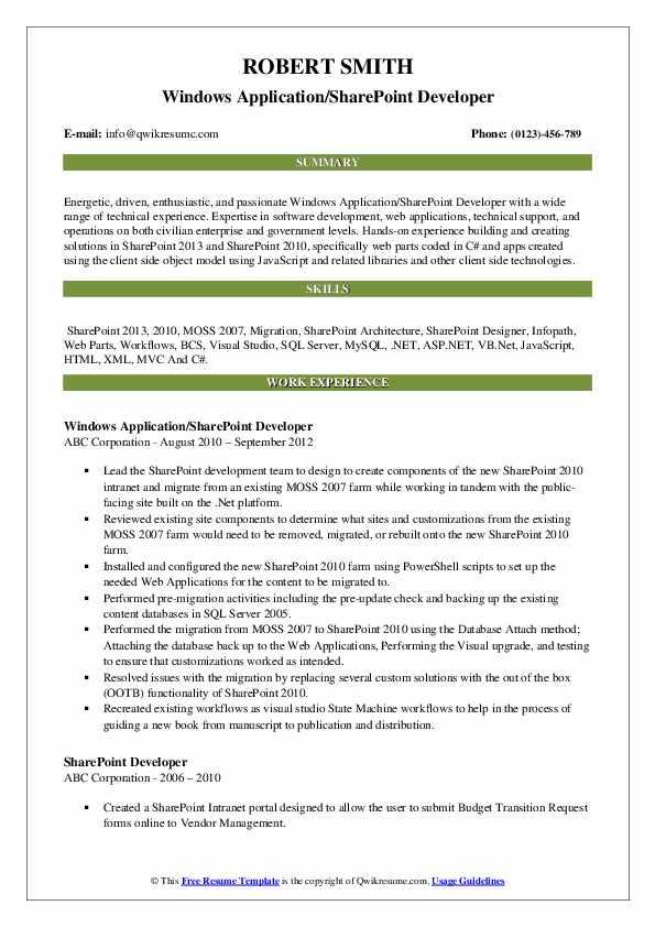 Windows Application/SharePoint Developer Resume Sample