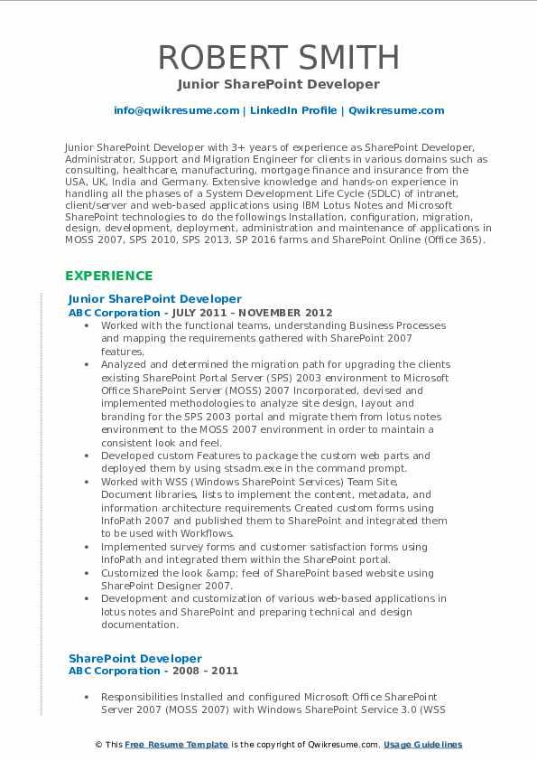 Junior SharePoint Developer Resume Format