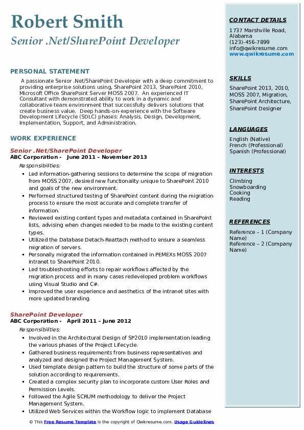 Senior .Net/SharePoint Developer Resume Template