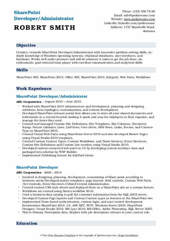 SharePoint Developer/Administrator Resume Format