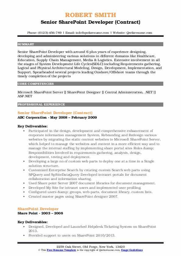 Senior SharePoint Developer (Contract) Resume Example