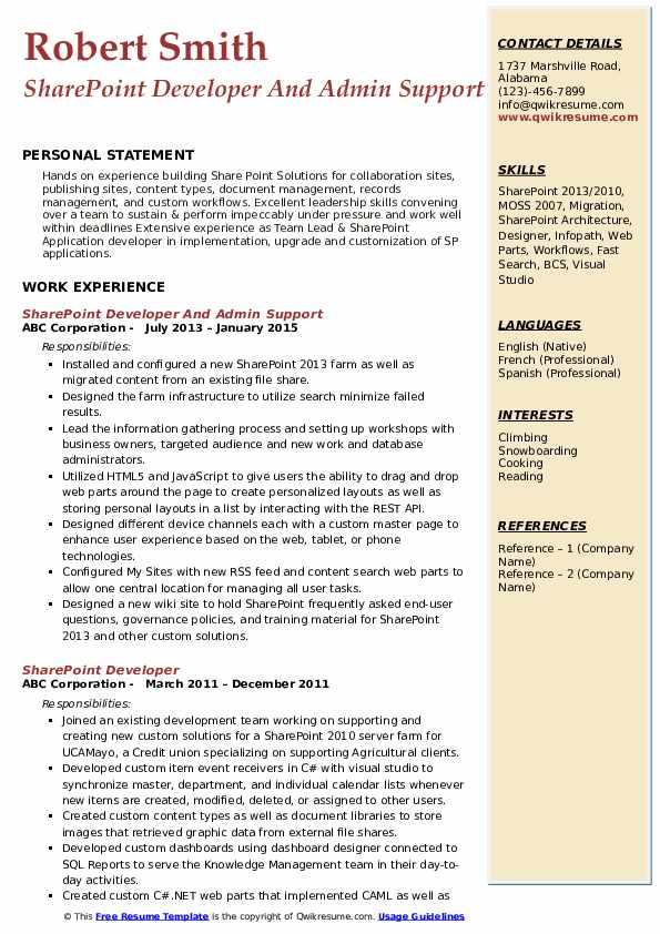 SharePoint Developer And Admin Support Resume Model