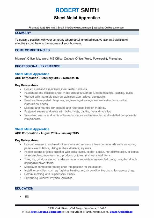 Sheet Metal Apprentice Resume example