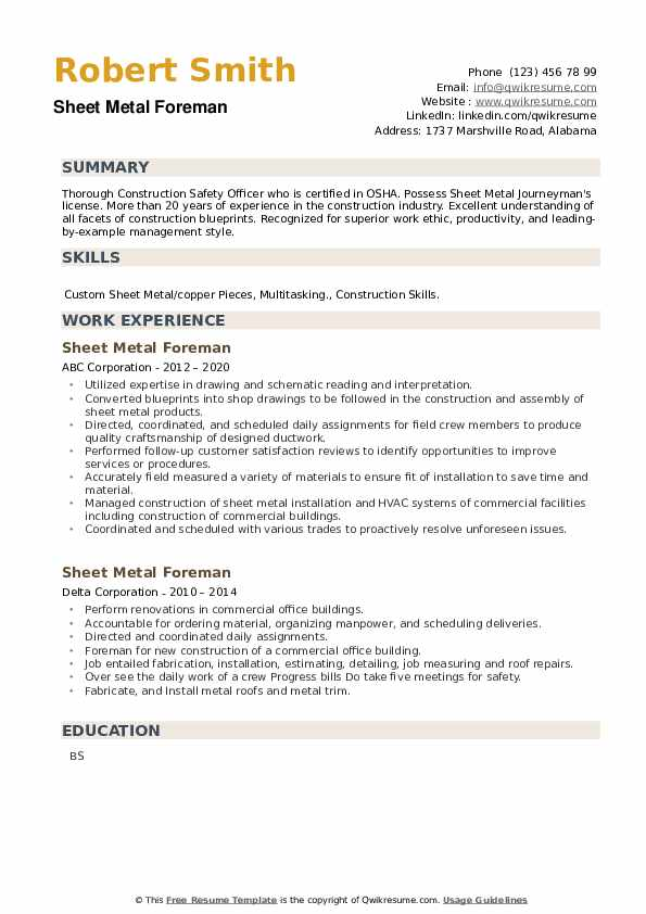 Sheet Metal Foreman Resume example
