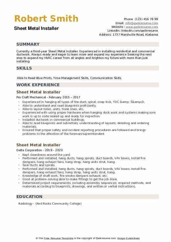 Sheet Metal Installer Resume example