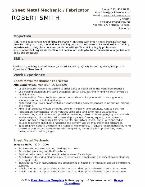 Sheet Metal Mechanic / Fabricator Resume Sample