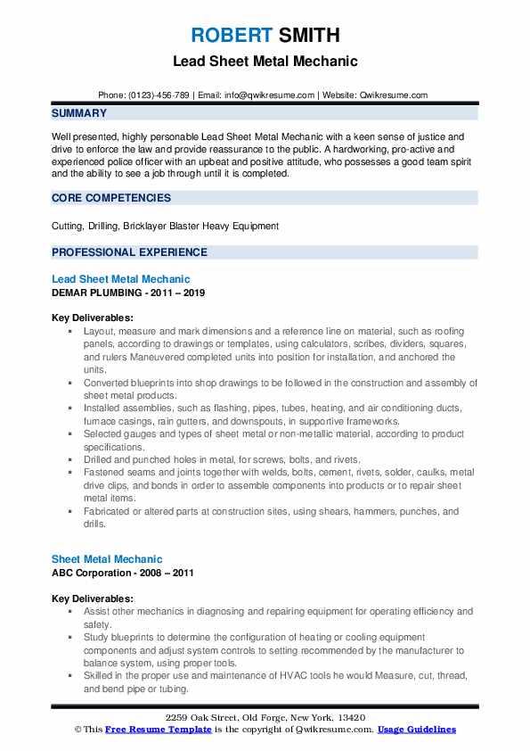 Lead Sheet Metal Mechanic Resume Sample