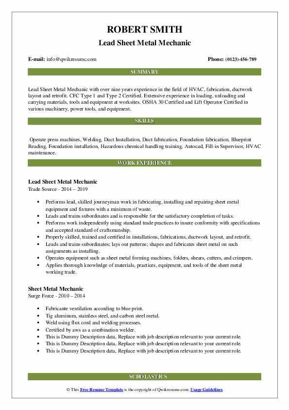 Lead Sheet Metal Mechanic Resume Example