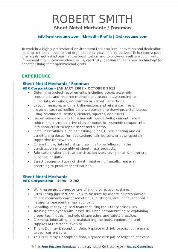 Sheet Metal Mechanic / Foreman Resume Format