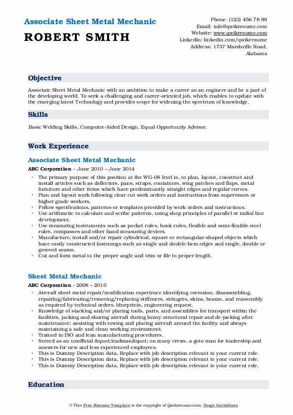 Associate Sheet Metal Mechanic Resume Template