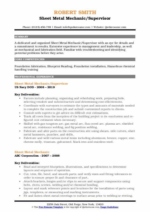 Sheet Metal Mechanic/Supervisor Resume Model
