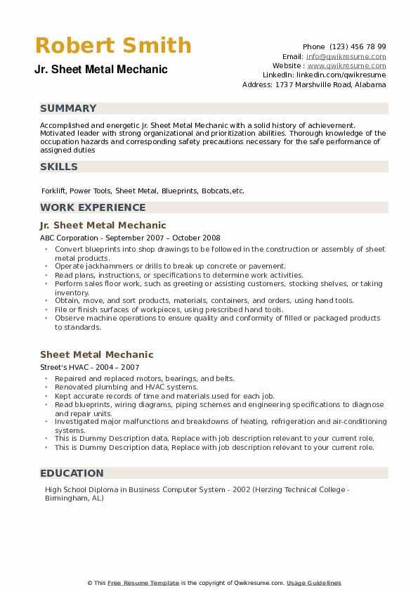 Jr. Sheet Metal Mechanic Resume Template