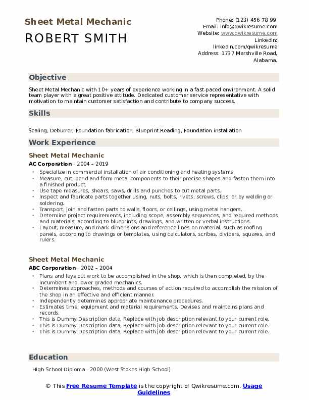 Sheet Metal Mechanic Resume Samples Qwikresume
