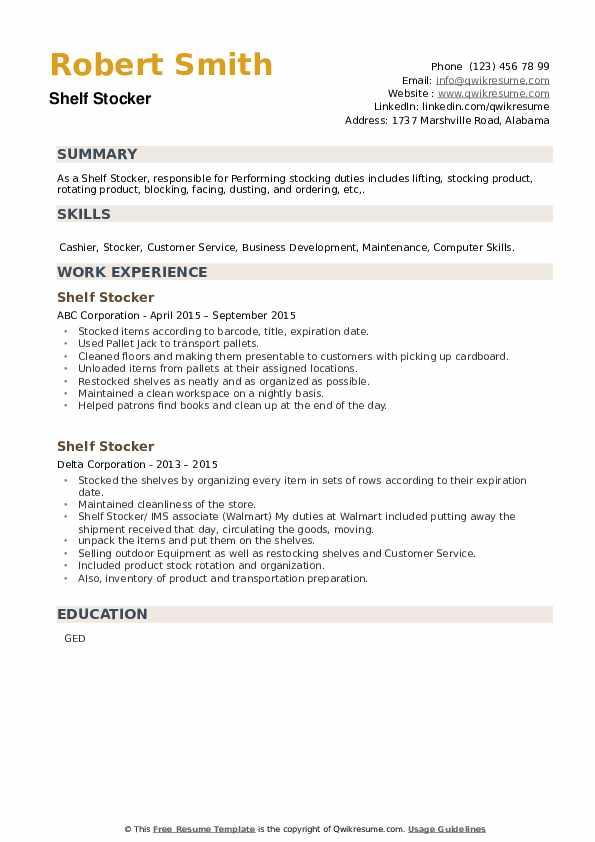 Shelf Stocker Resume example